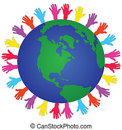 global issues of the world - out reaching hands indicating...
