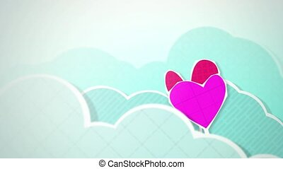 Two Hearts in Clouds HD - Dynamic graphic animation using...