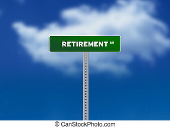 Retirement Road Sign - High resolution graphic of a green...