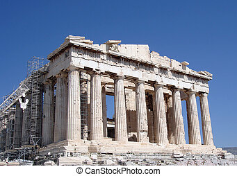 Parthenon, front Facade - Ongoing restoration work of the...