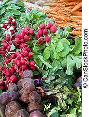 Vegetable display - Fresh vegetables for sale at a market