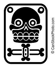 azteca, estampilla, cráneo, -, vector