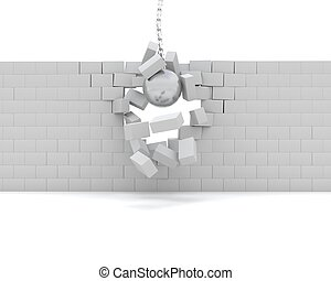 Wrecking ball demolishing a wall - 3D Render of a Wrecking...