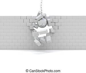 Wrecking ball demolishing a wall - 3D Render of a Wrecking...