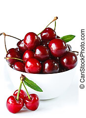 Sweet cherry - Sweet cherry in a white ceramic bowl