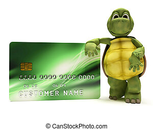 Tortoise with a credit card - 3D render of a Tortoise with...