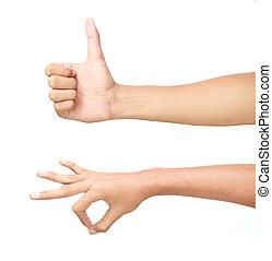 male hands showing thumbs up sign and pinch against white...