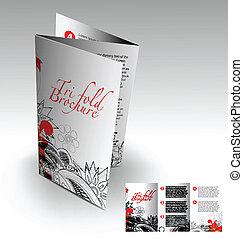 Tri-fold brochure design elemenr, vector illustartion.
