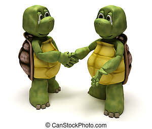 Tortoises shaking hands - 3D render of a Tortoises shaking...