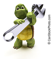 Tortoise with a spanner