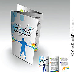 Tri-fold brochure design elemenr, vector illustartion.