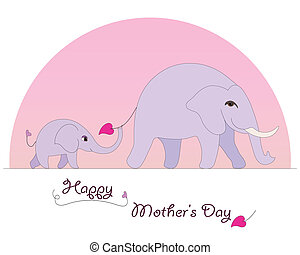 Happy Elephant Mother's Day card - Happy Mother's Day...