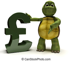 Tortoise with pound sign - 3D Render of a Tortoise with...