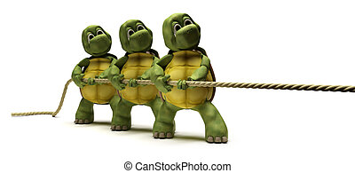 Tortoises pulling on a rope - 3D render of Tortoises pulling...