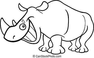 rhinoceros for coloring book - cartoon illustration of funny...