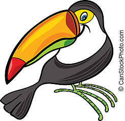 cartoon toucan - cartoon illustration of funny toucan