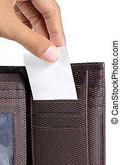 taking card inside wallet - hand taking card inside brown...