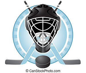 Hockey emblem - Emblem with goaltender helmet, hockey sticks...