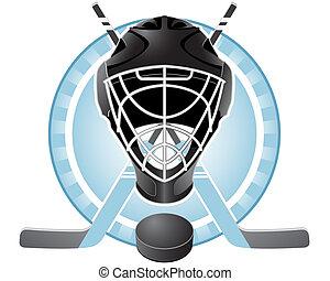 Hockey emblem - Emblem with goaltender helmet, hockey sticks...