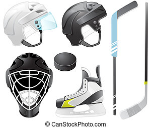 Hockey accessories - Goaltender helmet, hockey sticks, skate...