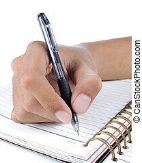 hand writing on the notebook