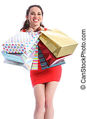 Beautiful woman excited after shopping trip
