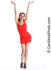 Success for beautiful happy woman in red dress