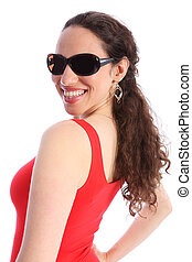 Beautiful happy smiling young woman in sunglasses