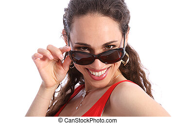 Beautiful smile by happy woman in sunglasses