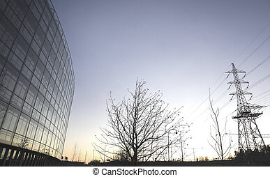 Office building and electricity pylon - Office building,tree...