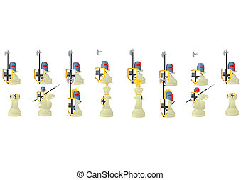 Chess Warriors. - Chessmen styled medieval knights....
