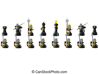 Chess Warriors - Chessmen styled medieval knights....