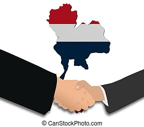 handshake with Thailand map flag