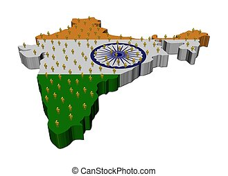 India map flag with many people