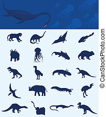 Collection of a dinosaur - Collection of dinosaurs of the...
