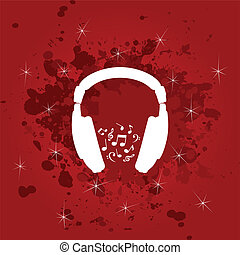 Ear-phone - White ear-phones on a red background A vector...