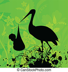 Heron - The heron in a beak holds the child A vector...