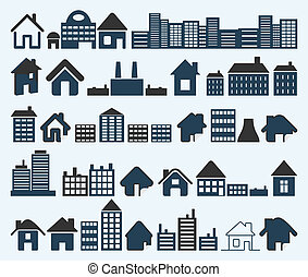 House icon6 - Set of icons of houses. A vector illustration
