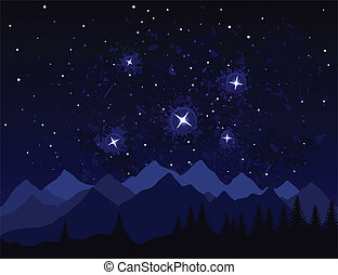 Night in mountains - Galaxies and stars in space A vector...