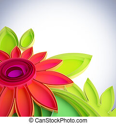 Colorful flower in quilling techniques - 3D illustration of...