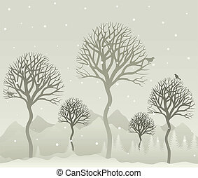 Wood - Snow in winter wood A vector illustration