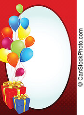 Birthday Card with Gift and Balloon