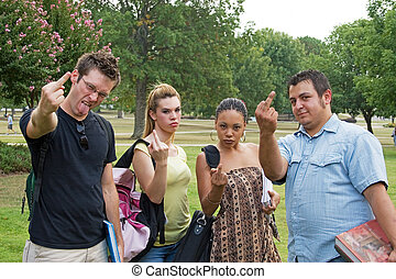 Group of Rude Angry College Students Giving the Finger