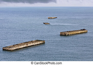 Old abandoned american pontoons - Gold Beach, the famous...