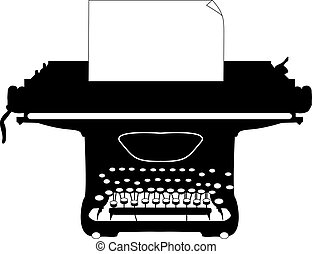 Typewriter - Silhouette of an old typewriter with a sheet of...