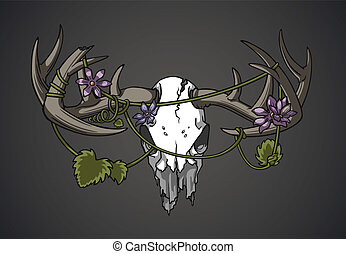 Rebirth - Deer skull with vines and flowers entangled in the...