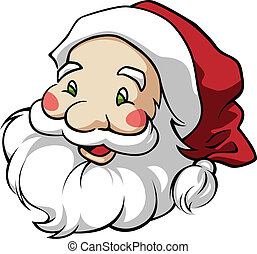 Cute Santa Claus head in a round composition