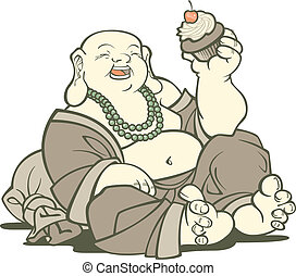 Buddha With Cupcake - Laughing Buddha enjoying the simple...