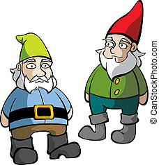 Two Lawn Gnomes - Two isolated lawn gnomes standing and...