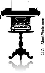 Typewriter on the coffee table - Silhouette of an old...